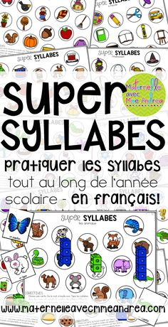 Super syllabes - un jeu pour pratiquer les syllabes | FRENCH syllable practice | maternelle | conscience phonologique French Teaching Resources, Teaching French, School Age Activities, Writing Activities, Early Reading, Guided Reading, Phonological Awareness Activities, French For Beginners, Word Work Centers