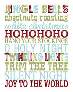 A FREE Christmas Printable!  This blog has every holiday in Subway Art!  Perfect to print out, put in a frame, and display in your entryway!