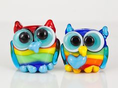 Rainbow Owls by maybeads