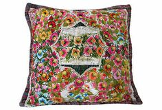Custom Guatemalan Floral embroidered Textile Pillow Offered by Leslie Davis Interiors