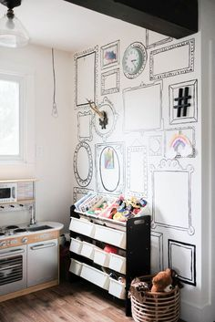 Kids play area with frames painted on the wall play kitchen and toy organization Cheap Furniture, Kids Furniture, Furniture Design, Furniture Dolly, Upcycled Furniture, Luxury Furniture, Office Furniture, Vintage Furniture, Painted Furniture