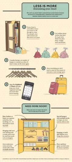 Downsizing your Closet - Less is More Infographic Wardrobe Organisation, Life Organization, Wardrobe Storage, Clothing Storage, Wardrobe Closet, Master Closet, Organizing Hacks, Cleaning Hacks, Decluttering Ideas