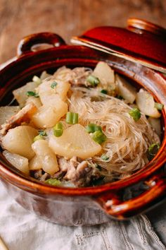 #Braised #Daikon with #Salted #Pork & #Glass #Noodles recipe by thewoksoflife.com
