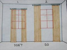 This diagram simply illustrates the effect that curtain rod placement can have. You can absolutely create the illusion of a larger window and grander scale by simply mounting the curtain rod up high near the ceiling and beyond the side edges of the window trim.