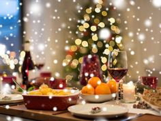 Stock Photo: christmas dinner and eating concept - food and drinks on table at home over snow Escape Room, Mother Nature, Table Settings, Presentation, Cocktails, Xmas, Stock Photos, Table Decorations, Dinner