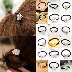 Carino principessa perla simulata corona/cat/fiore/cuore/bow/coniglio ponytail elastico dei capelli della corda/fascia cravatte accessori per capelli