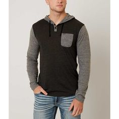 Hurley Route Henley Hoodie - Grey XX-Large ($44) ❤ liked on Polyvore featuring men's fashion, men's clothing, men's hoodies, grey, hurley mens hoodies, mens grey hoodies, mens hoodies and mens sweatshirt hoodies