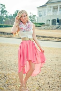 Gorgeous High Low Skirt, with Country Style Belt, White Tank, and an Infinity Scarf!