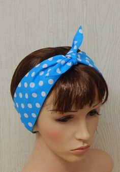 Pin Up Headband Cotton Hair Band Blue and by verycuteheadbands