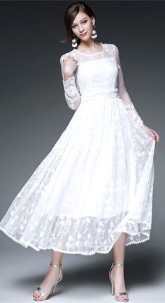 White Long Sleeves Embroidery Maxi Dress