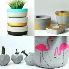 Some details give all the difference in the decoration And the cement vases gain space each time Cement Art, Concrete Crafts, Concrete Art, Concrete Projects, Painted Flower Pots, Painted Pots, Pots D'argile, Diy Concrete Planters, Fleurs Diy