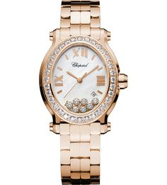 CHOPARD - Happy Sport Oval 18ct rose-gold and diamond watch (£28,790.00)