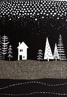 Black and White winter landscape, collage, mixed media, grays, snowing trees and house, dots, graphic