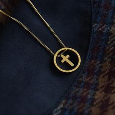 The circle flatters the neckline and includes a floating small gold cross sat within the centre of the circle. Coin Necklace, Star Necklace, Fashion Necklace, Fashion Jewelry, Trendy Necklaces, Gold Cross, Jewelry Stores, Wedding Jewelry, Centre