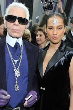 Front Row at Chanel  Karl Lagerfeld and Alicia Keys