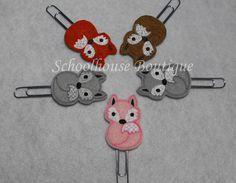 Fox felt Paperclip bookmark felt bookmark by SchoolhouseBoutique