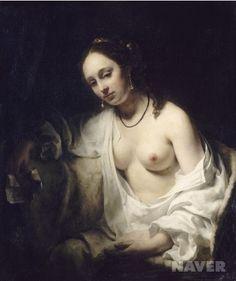 <다윗의 편지를 받은 밧세바 by 윌렘 드로스트> 이 작품은 윌렘 드로스트의 걸작이자 17세기 네덜란드에서 그려진 누드화 중 가장 아름답다고 평가되는 작품이다. 이 작품은 성서의 주요 인물인 다윗 왕과 어쩔 수 없이 부정을 저지르게 된 미녀 밧세바에 초점을 맞추고 있다. 아주 캄캄한 어둠 속에서 모습을 드러내며, 다시 자신의 곁으로 오라고 명령하는 다윗의 편지가 초래할 결과를 예상하는 듯한 젊은 여성을 관람자 쪽을 바라보고 있다. 이 작품에서 밧세바의 귀걸이가 수직이 아니라 비스듬하게 그려져 있는데 이는 그녀가 왼쪽에서 오른쪽으로 몸을 돌아보고 있는 중이라는 것을 보여준다. 이는 단순히 관람자를 바라보는 밧세바가 아니라 유혹하는 모습으로 표현하고자 하는 화가의 의도인 듯 하다.