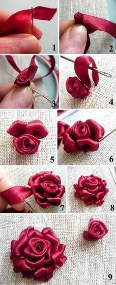 Learn how to embroider a ribbon rose | Вышиваем объемную розу лентами