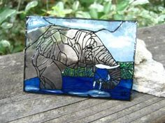 Original plexiglass ACEO water for Elephant simulated stained glass art card #zibbet The 30th entry in the challenge