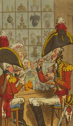 Detail of a James Gillray cartoon of soldiers eating  in a confectioner's shops, 1797. History of Gunter's