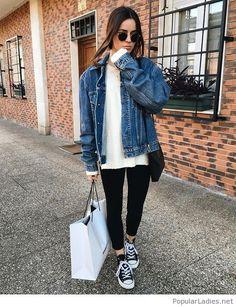 black-pants-white-blouse-and-blue-denim-jacket