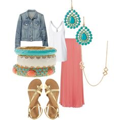 Love this maxi skirt and the coral and aqua color scheme, cute, cute, cute.
