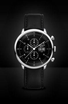 ADVOLAT CITY Chronograph, Stainless Steel Casing, Face black/white, Leather Bracelet black, Ref. 80008/2-L2