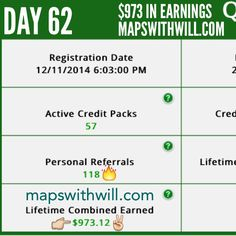 Day 62 - more money! Get paid 72 times a day! :) Join a winning team? www.mapswithwill.com