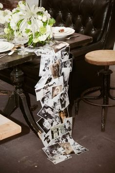 Photo table runner or backdrop of old family pictures