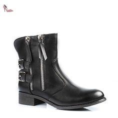 Ideal Shoes - Bottines fourrées décorées de ceinturons et de fermetures éclair Nadjela Noir 39 - Chaussures ideal shoes (*Partner-Link)