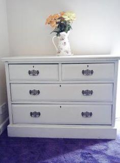 Vintage Shabby Chic Chest of Drawers - Old Vintage and very substantial Chest of drawers in used vintage condition. There is what looks like a split down the right side panel but its just how it was made, lots of little knocks and bumps over the years which gives it a wonderful charm. Reproduction Art Nouveau Handles. £150.00 http://thereclamationshop.co.uk/antique_item.php?id=64