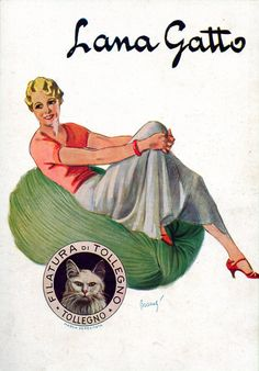Vintage Italian Posters~ italian Lana Gatto yarn ,vintage wool yarn advert