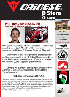 Join us this afternoon at #Dainese D-Store - #CHICAGO to meet and chat with #AMA Pro Road #Racing #rider #99 #Geoff #May!  http://www.meetup.com/RTRChicago/events/122023792/ * #GeoffMay