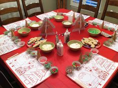 Cookie Decorating Party (love the placemats, use cupcake liners for toppings, popsicle sticks to spread icing) @Emily Schoenfeld Schoenfeld Schoenfeld Jones