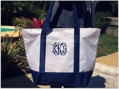 Monogrammed Oversized Zip Up Travel Bag - pinned by pin4etsy.com