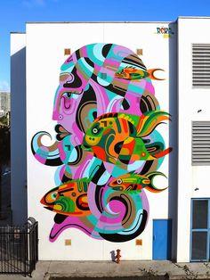 by Reka - for Art Basel - Wynwood, Miami - Dec 2014 Murals Street Art, Street Art Graffiti, Reverse Graffiti, Urbane Kunst, Mural Wall Art, Stencil Art, Outdoor Art, Art Club, Street Artists