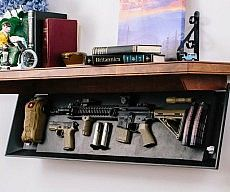 keeping your weapons close by with the tactical firearm concealment shelves. These sturdy shelves are made from beautifully worked wood and feature a secret compartment for easy access to all your firearms.