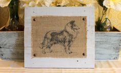 Handmade Reclaimed Wood Wooden Pallet Boards Rustic Country Burlap Collie Spaniel Boxer Bassett Sheep Dog Art Artwork Print Wall Hanging