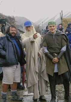 On the set of Lord of the Rings with director Peter Jackson, actor Christopher Lee and actor Orlando Bloom.