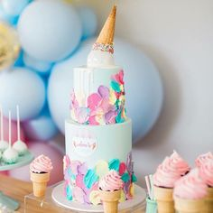 Amazing ice cream cake but This is one amazing party. 🍦Ava's Ice Cream Party🍦 Styling & Props… Ice Cream Birthday Cake, Ice Cream Party, Birthday Fun, First Birthday Parties, Birthday Party Themes, First Birthdays, Teenage Girls Birthday Party Ideas, Birthday Ideas, Ice Cream Social
