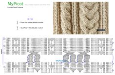 Gorgeous crochet cable pattern with diagram Picot Crochet, Crochet Cable Stitch, Fillet Crochet, Crochet Diagram, Crochet Chart, Crochet Hooks, Cable Knitting, Crochet Motif Patterns, Crochet Cardigan Pattern