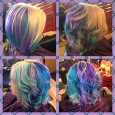 Pastel, boliage, pink hair, purple hair, violet hair, teal hair, platinum hair, blonde, blue hair, pastel hair, behind the chair, pravana. Hair by Jay Yost