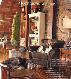 Uttermost Ad- Merchandise Available at Lynn Buch Interiors Brick Interior, Interior Walls, Brick Wall Decor, Brick Walls, Home Design Decor, House Design, Home Decor, Living Area, Living Rooms