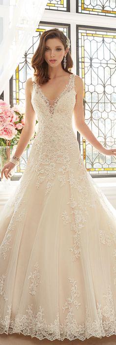 The Sophia Tolli Spring 2016 Wedding Dress Collection - Style No. Y11641 - Aricia #laceweddingdress Monica Earrings www.davidtuteraembellish.com