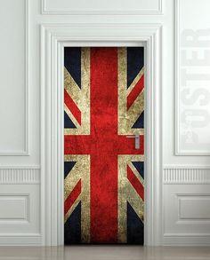 Door STICKER British flag grunge UK banner Great Britain England English London mural decole film self-adhesive poster from pulatonArtfire on Artfire. Fridge Stickers, Door Stickers, Vinyl Doors, Grunge, When One Door Closes, Peel And Stick Vinyl, Uk Flag, Unique Doors, Door Wall