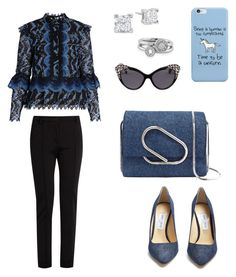 A fashion look from April 2017 featuring blue lace blouse, tailored trousers and denim pumps. Browse and shop related looks. Denim Pumps, Tailored Trousers, Erdem, 3.1 Phillip Lim, Blue Lace, Dsquared2, Jimmy Choo, Fendi, Unicorn