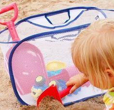 Putting all of the toys in a mesh laundry basket gives dried sand an escape route, and there's major bonus points for being big enough to pack your kiddo's entire supply of beach toys.