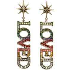 Gucci Gold Small Loved Earrings ($605) ❤ liked on Polyvore featuring jewelry, earrings, gold, colorful stud earrings, yellow gold earrings, gold jewellery, tri color earrings and gucci earrings