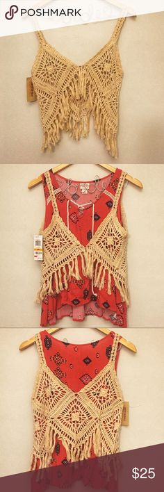 Crochet Cropped Vest ✌🏼NWT American Rag crochet vest with fringe detail! Never worn. American Rag Tops