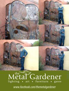 Cat, spider, flower custom gate by Jon WATTO Watson of The Metal Gardener Custom Gates, Art Furniture, Metal Art, Badass, Spider, Sculptures, Projects To Try, Flower, Cats